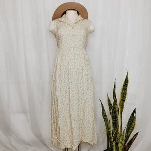 • VINTAGE • yellow floral maxi dress
